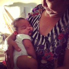 My grandma snuggling baby Royce