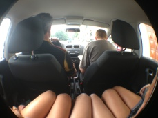 Backseat of legs.