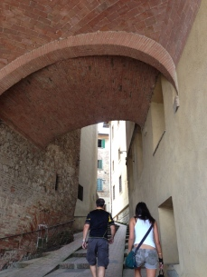 walking up Montepulciano!