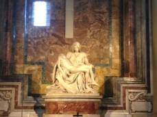 Michaelangelo's famous sculpture inside St. Peter's Basilica